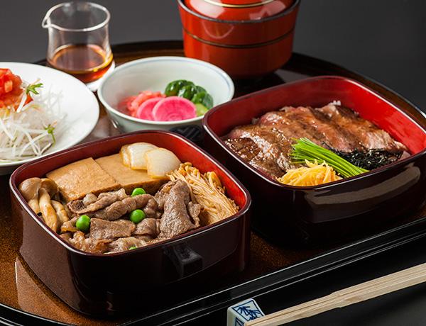◆二段重(百年牛丼・ステーキ丼)